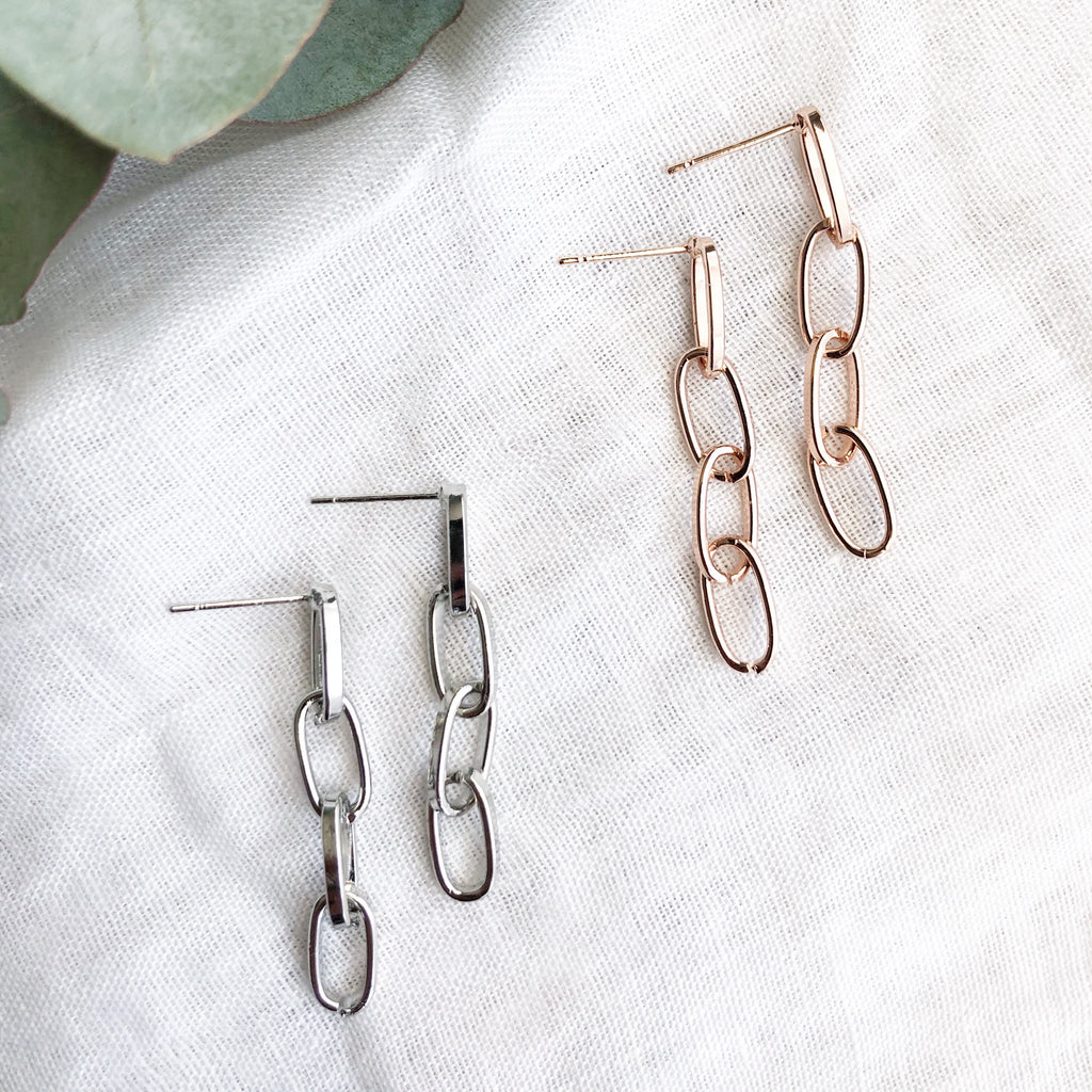 Link Rose Gold Drop Earrings - Blush & Co. Rose Gold Jewellery Australia