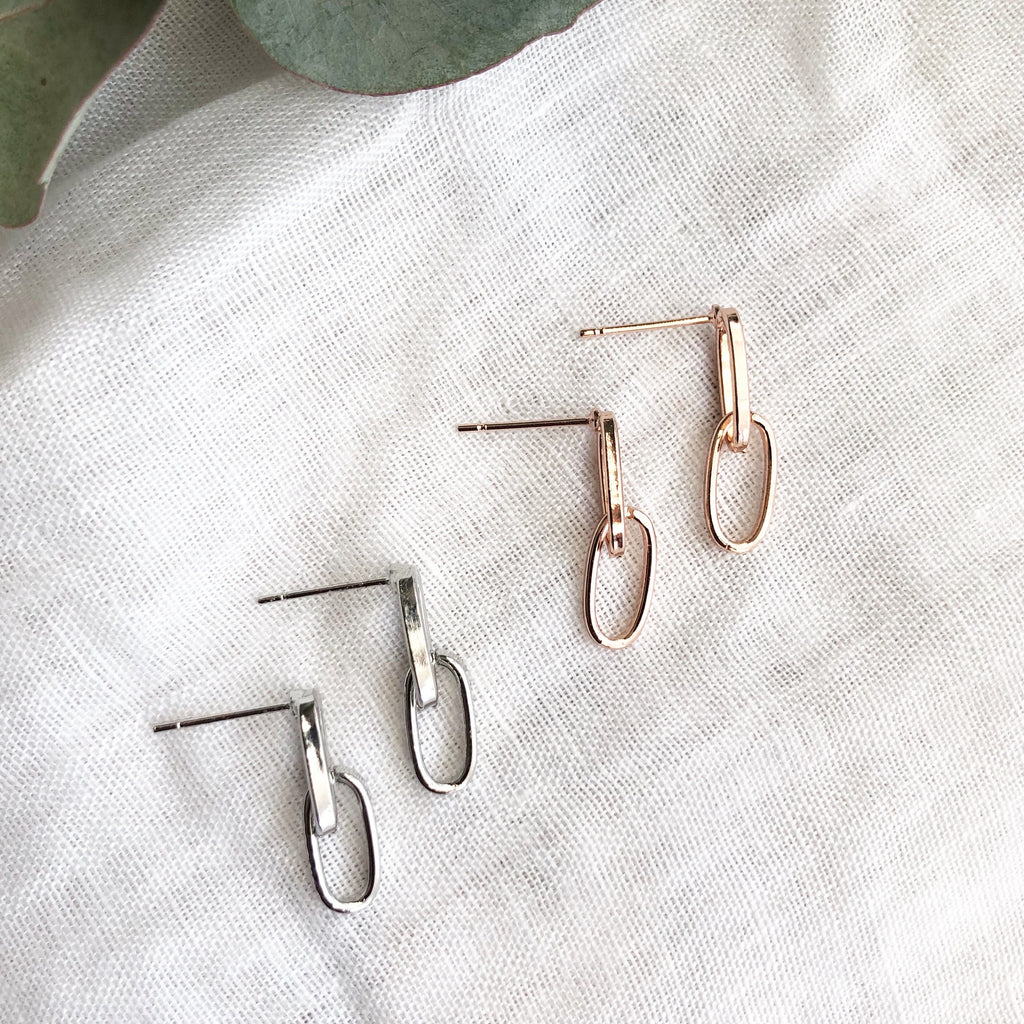 Link Silver Drop Earrings - Blush & Co. Rose Gold Jewellery Australia