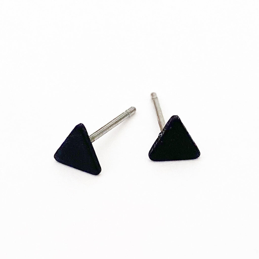 Mini Black Triangle Stud Earrings - Blush & Co.
