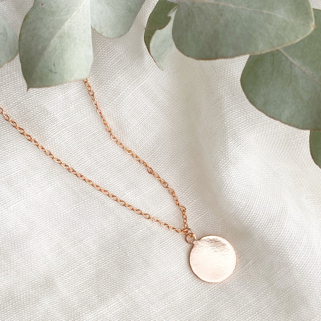 Disc Pendant Necklace - Blush & Co. Rose Gold Jewellery Australia