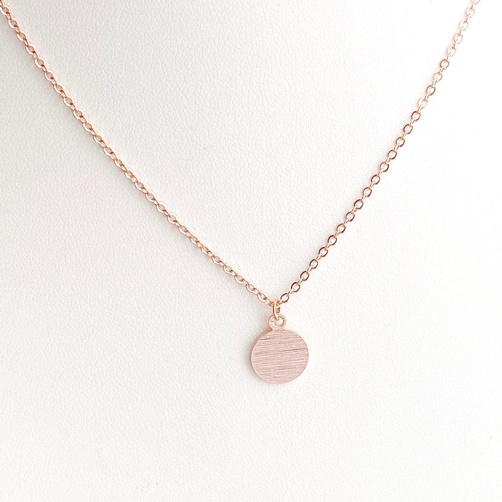 Textured Disc Pendant Necklace - Blush & Co. Rose Gold Jewellery Australia
