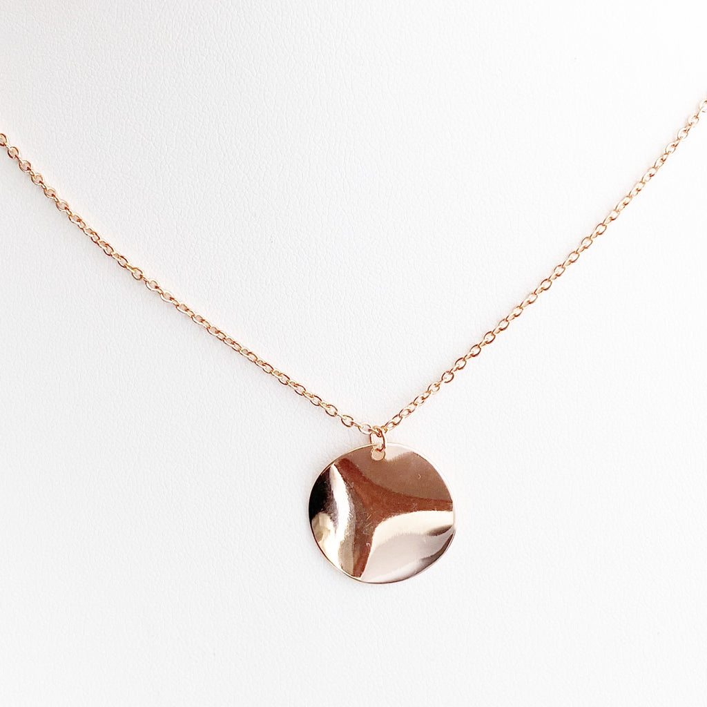 Waved Rose Gold Pendant Necklace