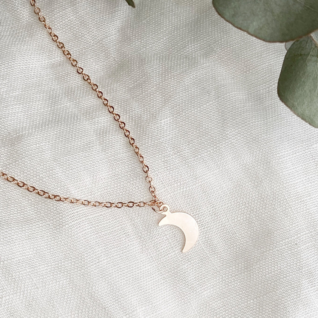 Crescent Moon Pendant Necklace - Blush & Co. Rose Gold Jewellery Australia