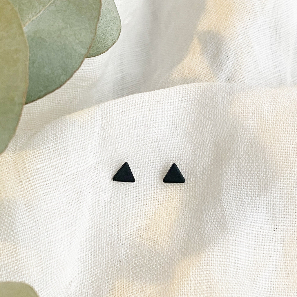 Mini Black Triangle Stud Earrings