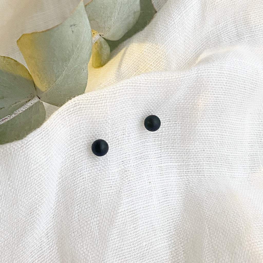 Mini Black Ball Stud Earrings