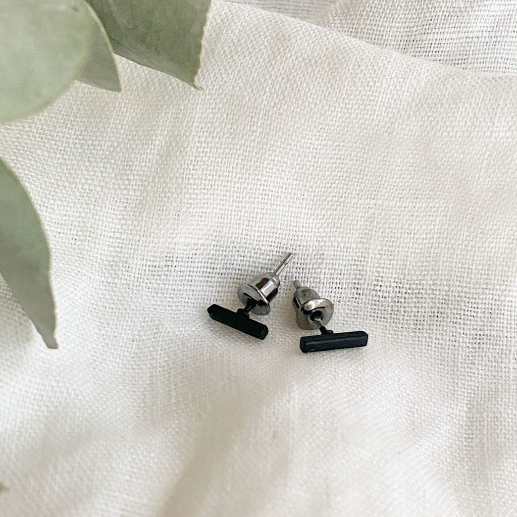 Mini Black Bar Stud Earrings