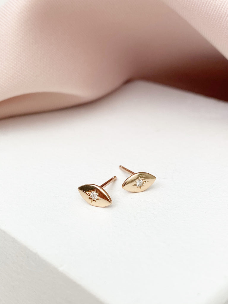 Crystal Eye Mini Stud Earrings - Rose Gold - Blush & Co.