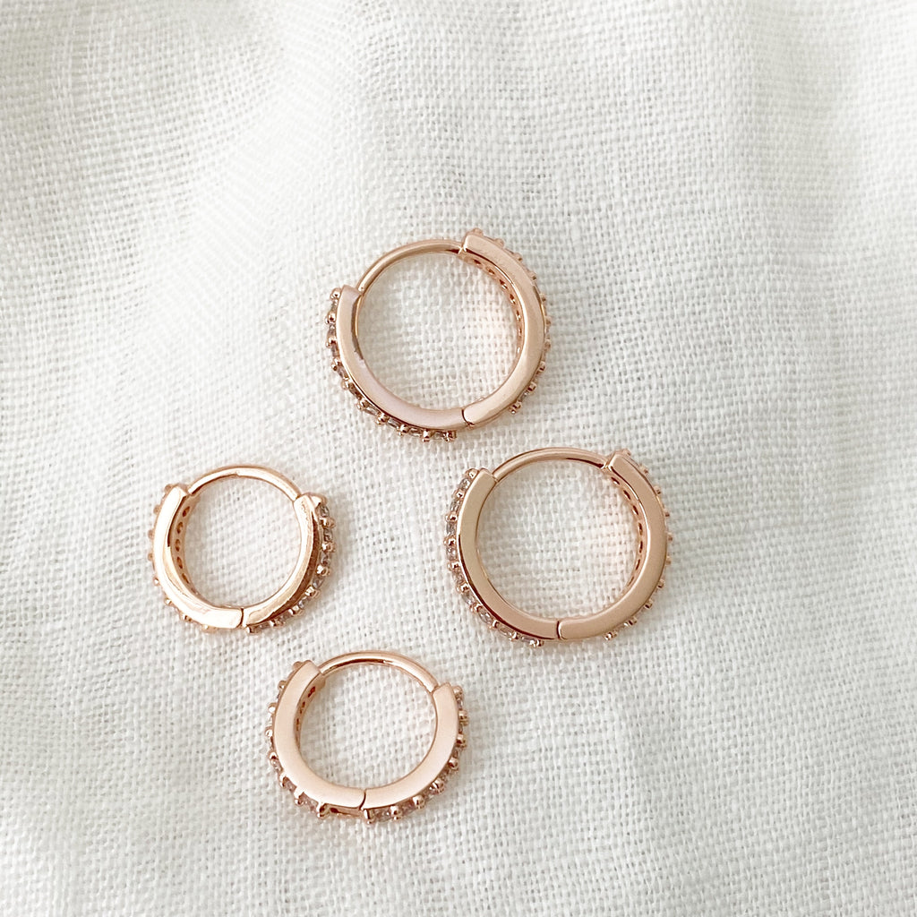 Cubic Zirconia Huggie Hoops - Rose Gold - Blush & Co.