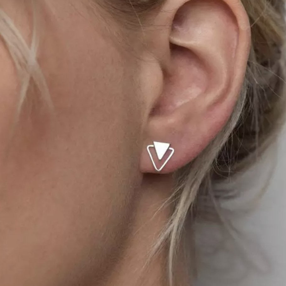 Silver Triangle Stud Earrings - Blush & Co. Rose Gold Jewellery Australia
