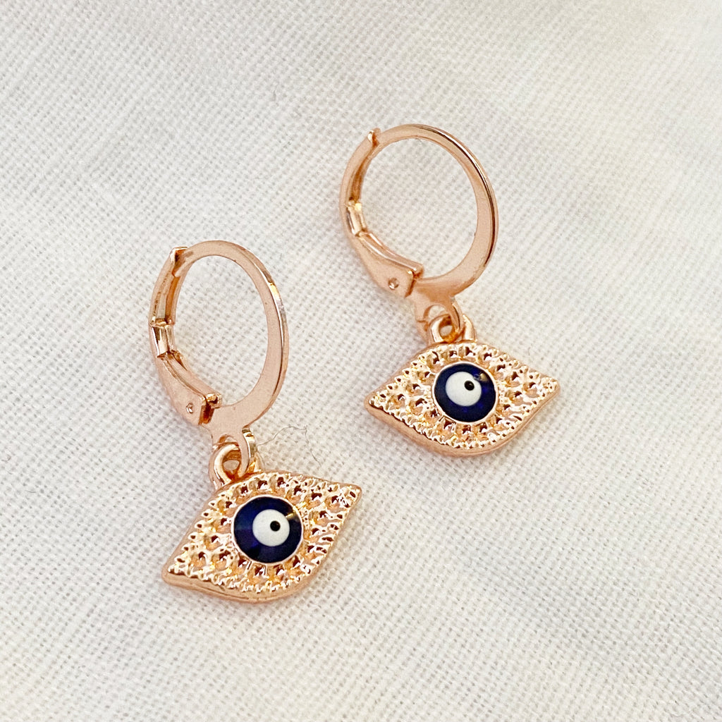 Evil Eye Huggie Earrings - Rose Gold - Blush & Co.