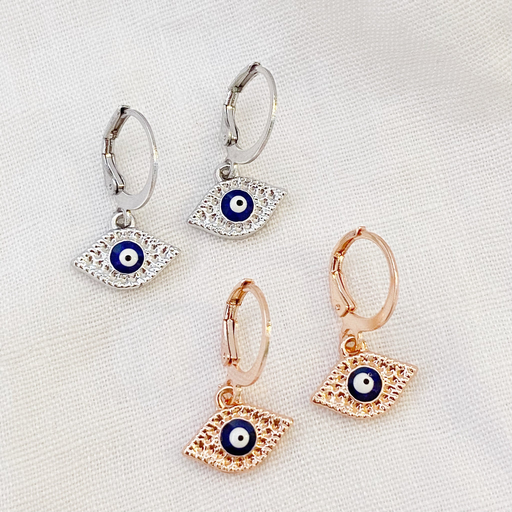 Evil Eye Huggie Earrings - Silver - Blush & Co.