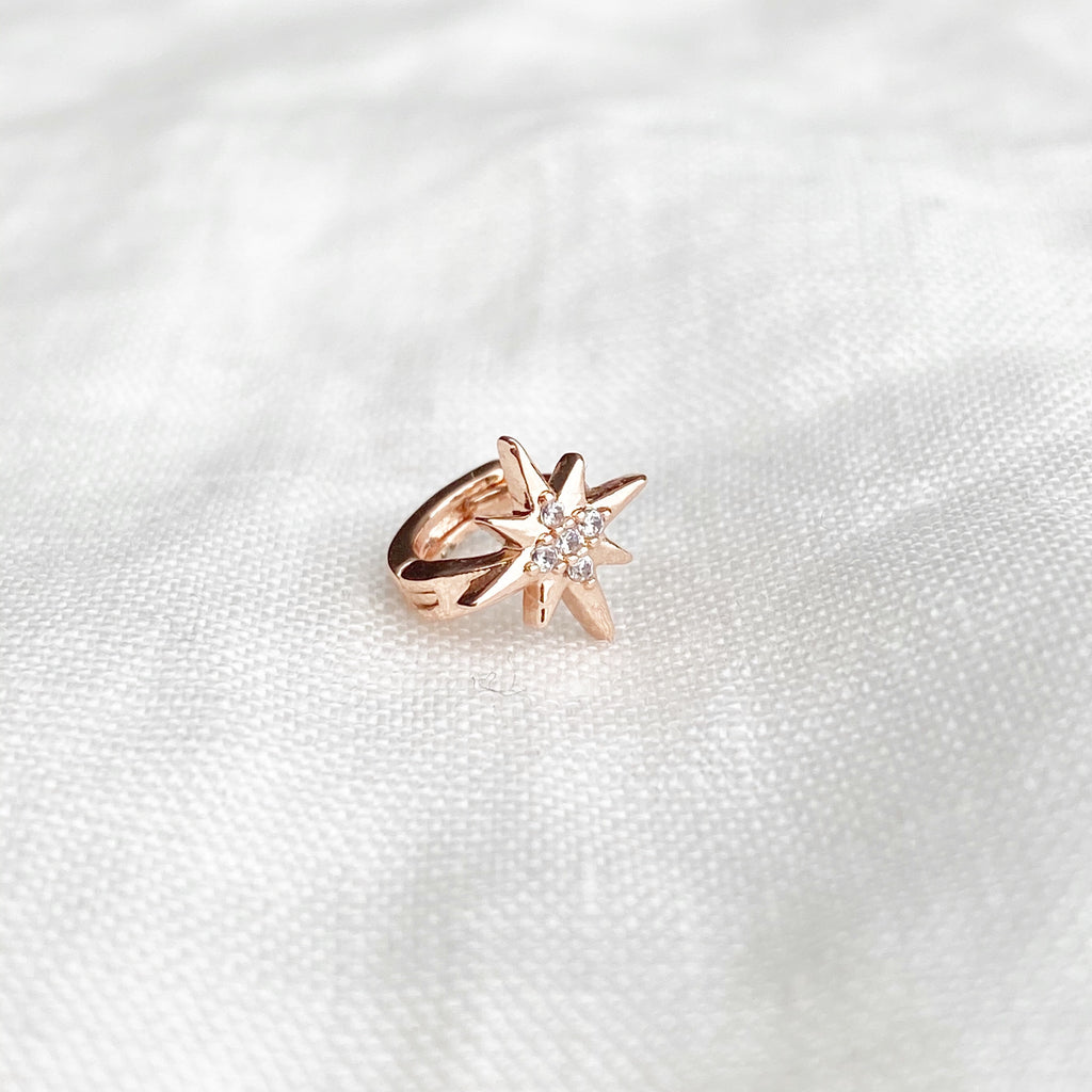 Tiny Twilight Crystal Huggie Earring - Rose Gold - Blush & Co. Rose Gold Jewellery Australia