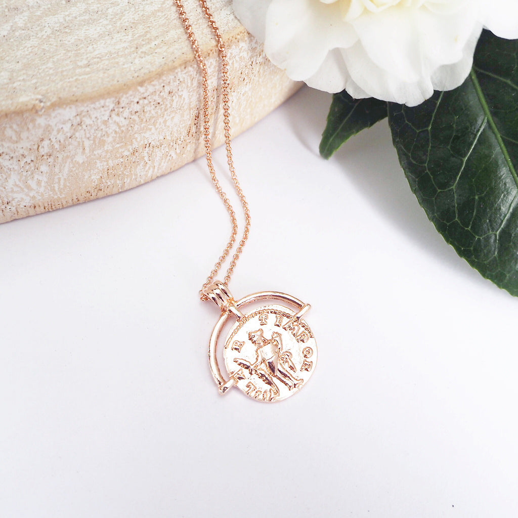 Rose Gold Medallion Pendant Necklace - Blush & Co. Rose Gold Jewellery Australia