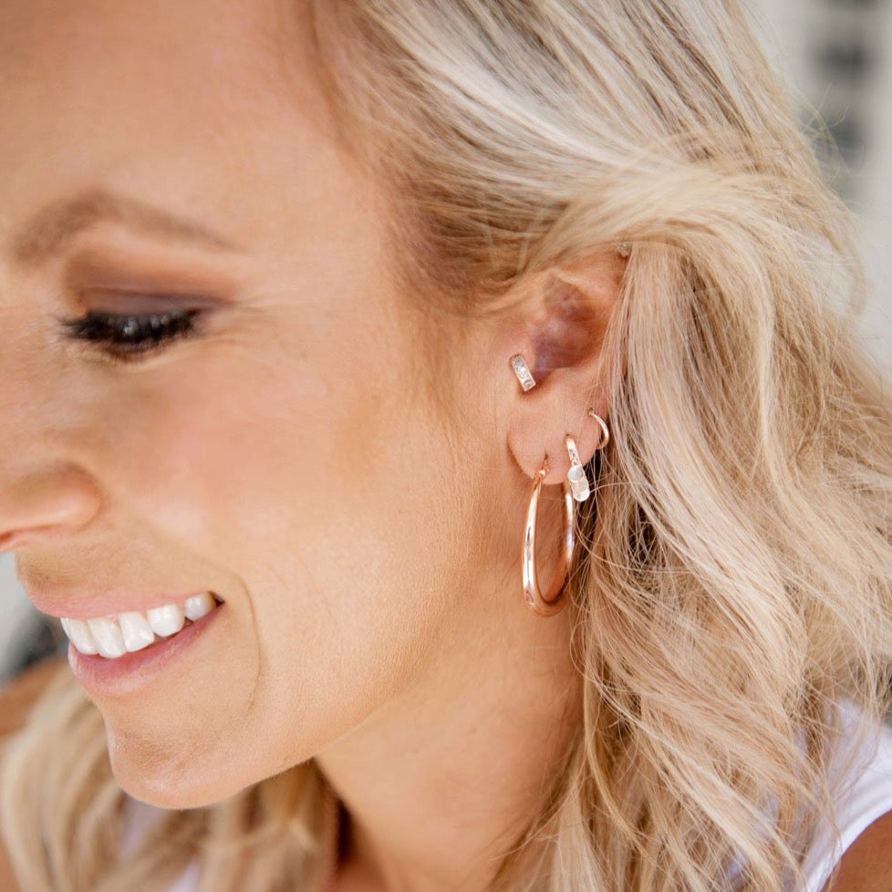 Tiny Zirconia Huggie Earring - Rose Gold - Blush & Co.