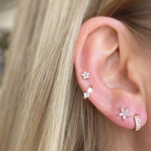 Crystal Bloom Barbell Earring - Silver - Blush & Co.