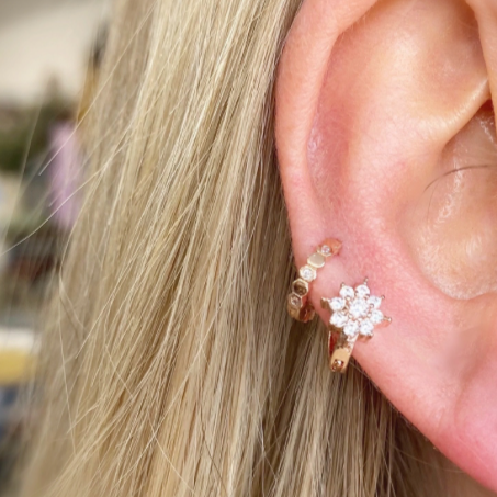 Tiny Daisy Crystal Huggie Earring - Silver - Blush & Co.