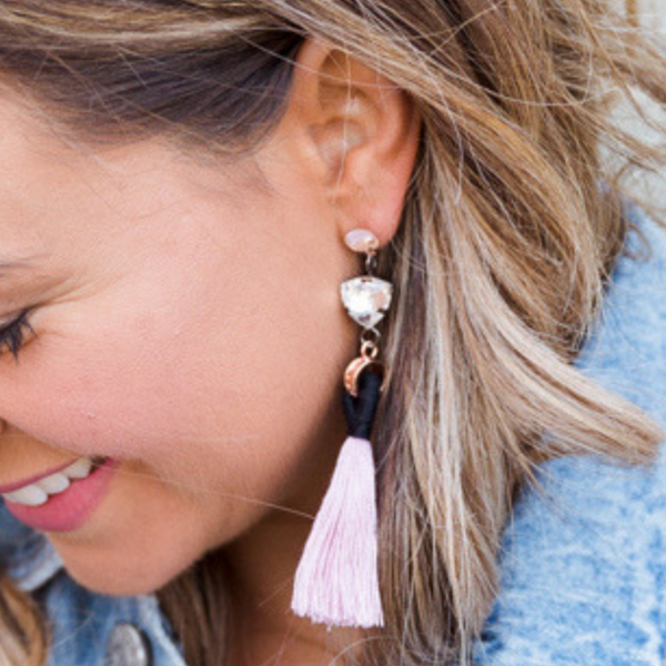 Angelique Tassel Earrings - Blush - Blush & Co.
