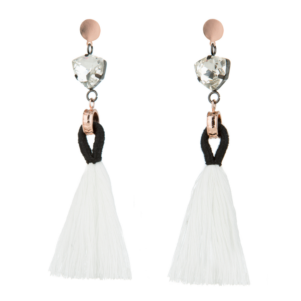 50% OFF Angelique Tassel Earrings - White - Blush & Co.