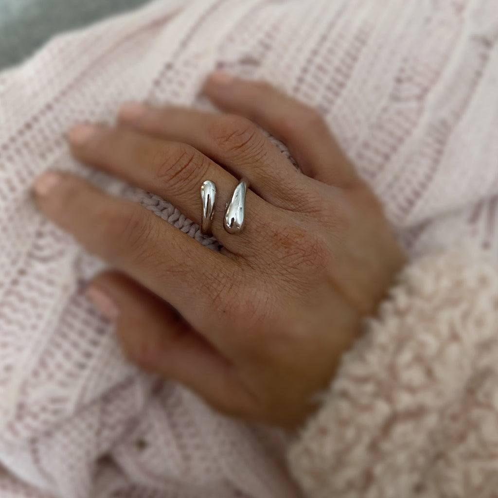 Water Drop Ring - Silver - Blush & Co. Rose Gold Jewellery Australia