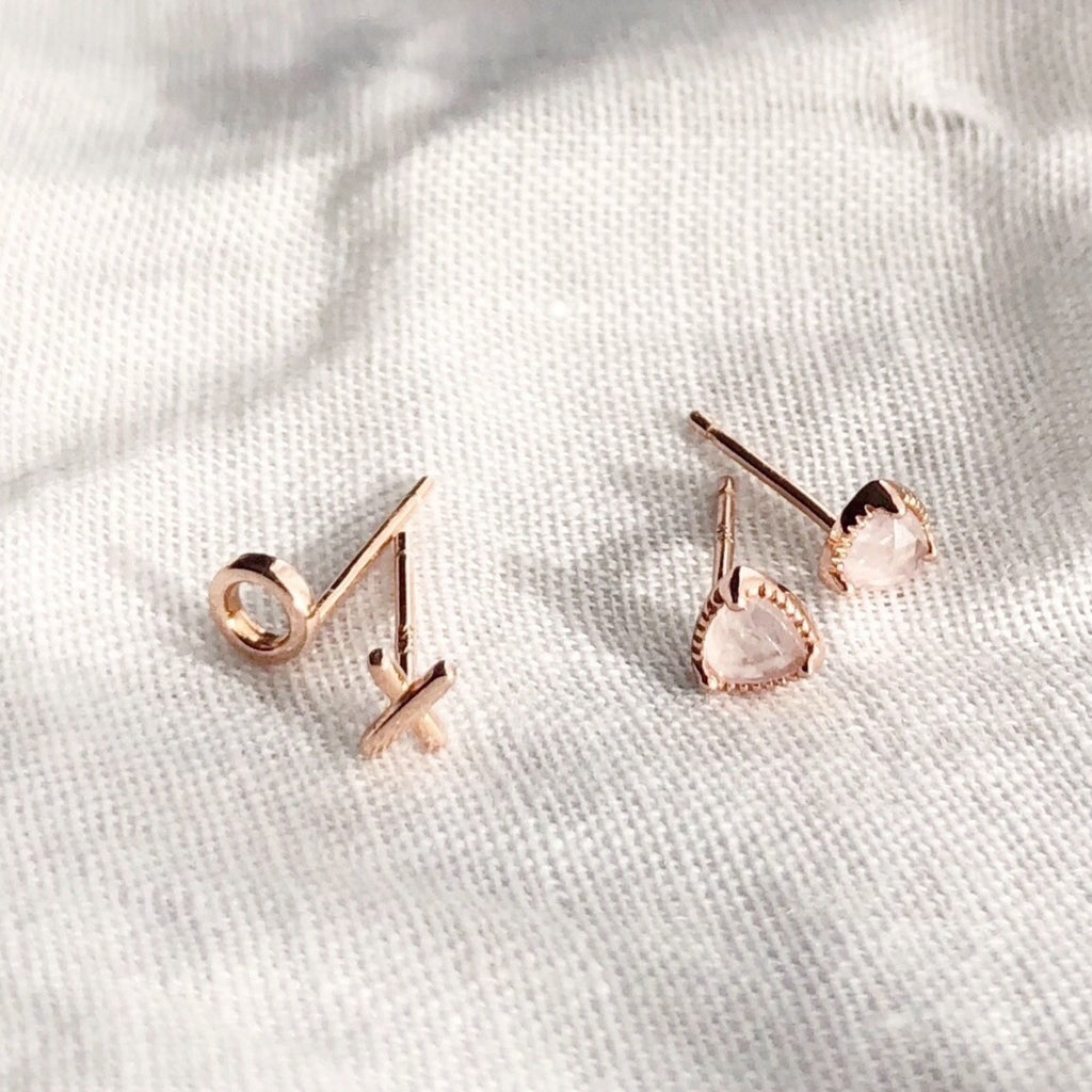 Mini Rose Quartz Stud Earrings - Blush & Co. Rose Gold Jewellery Australia