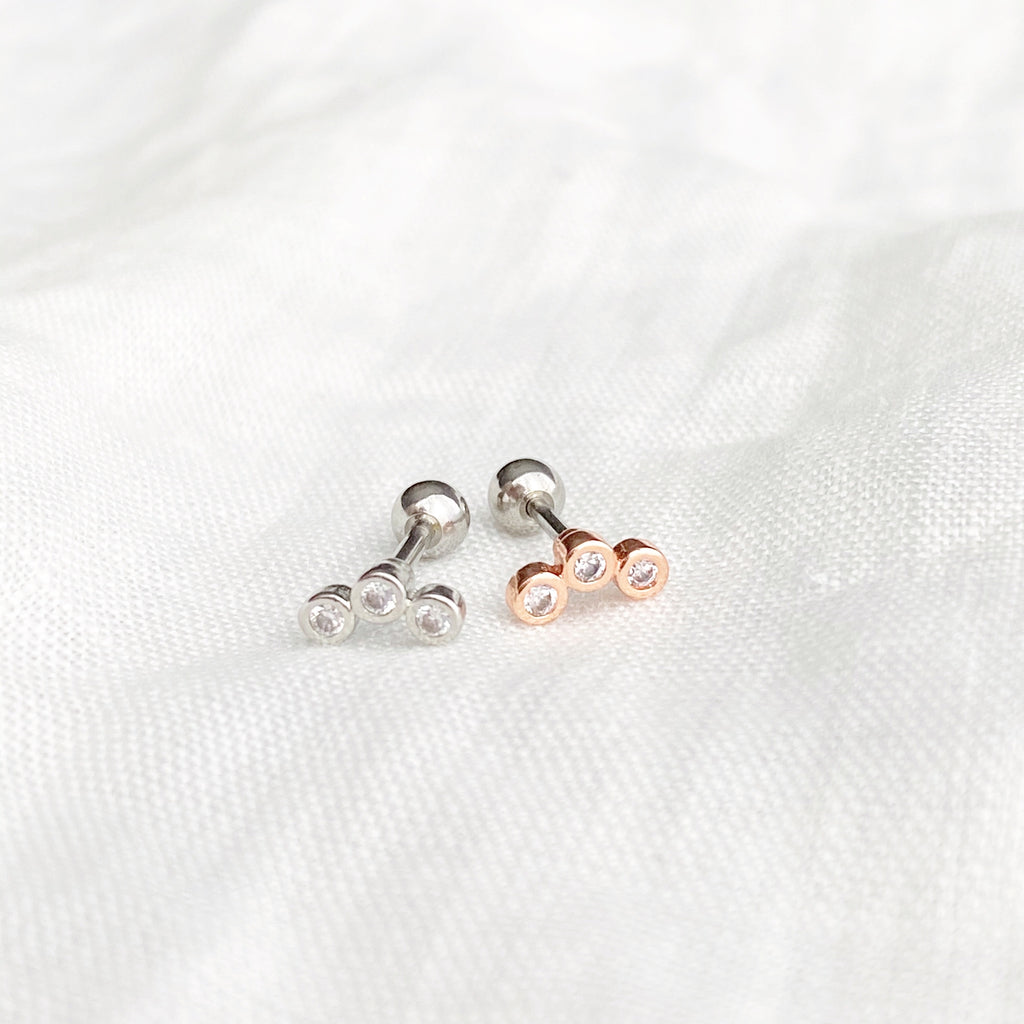 Trinity Zirconia Barbell Stud Earring - Rose Gold - Blush & Co. Rose Gold Jewellery Australia