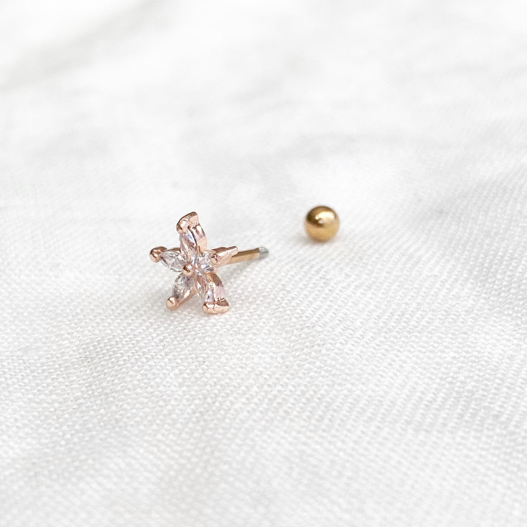 Crystal Bloom Barbell Earring - Rose Gold - Blush & Co.