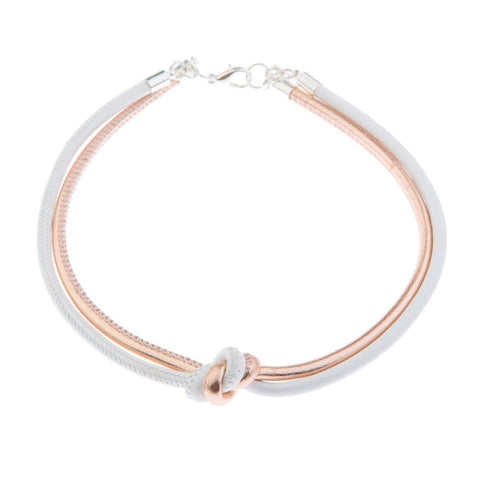 Blush Leather Choker - White