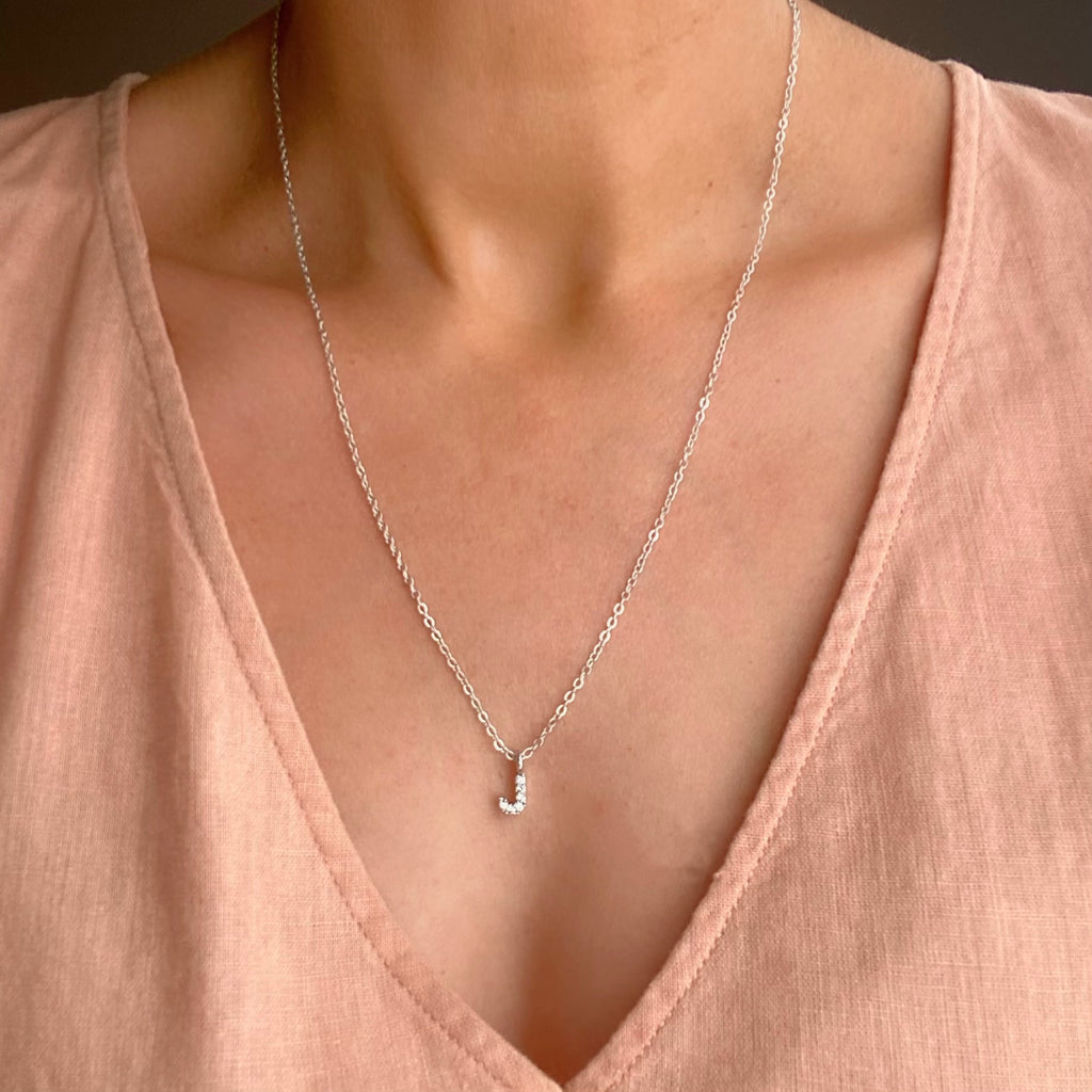 Initial Pendant Necklace - Silver - Blush & Co. Rose Gold Jewellery Australia