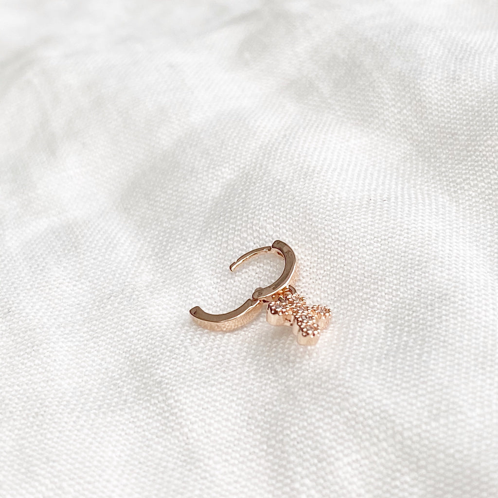 Tiny Cross Charm Huggie Earring - Blush & Co. Rose Gold Jewellery Australia