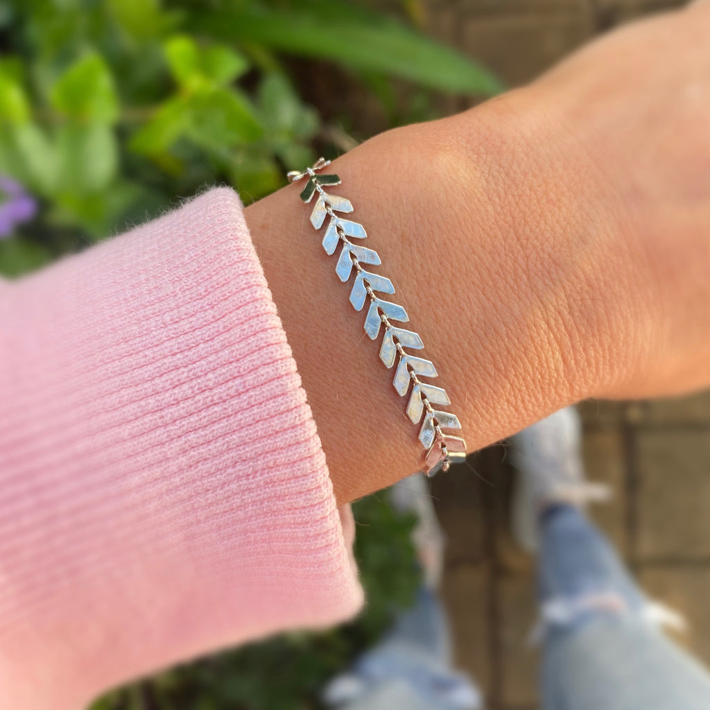 Chevron Silver Bracelet - Blush & Co. Rose Gold Jewellery Australia