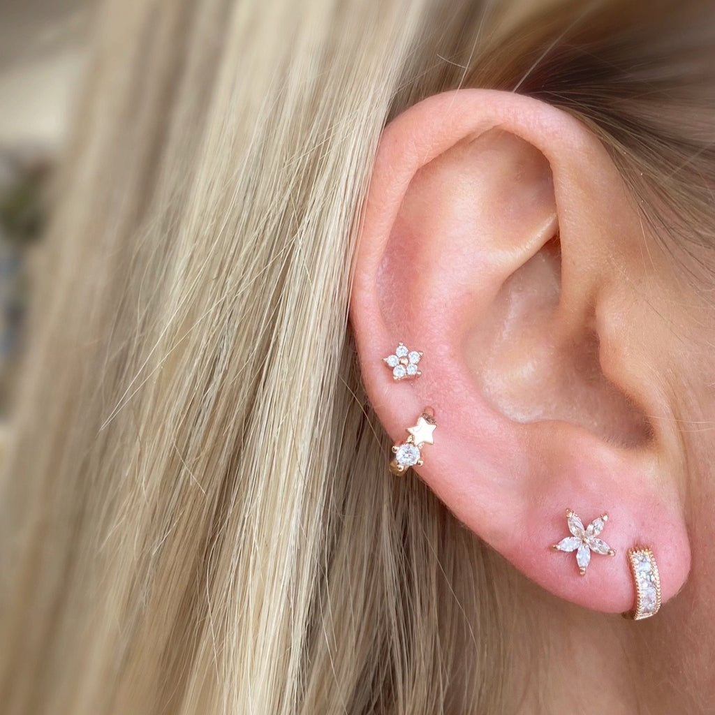 Tiny Daisy Crystal Barbell Earring - Rose Gold - Blush & Co.