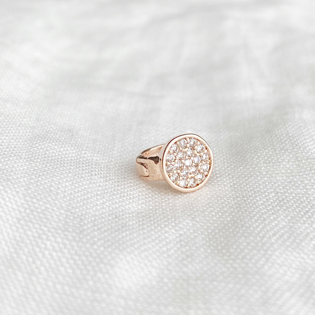 Tiny Disc Crystal Huggie Earring - Blush & Co. Rose Gold Jewellery Australia