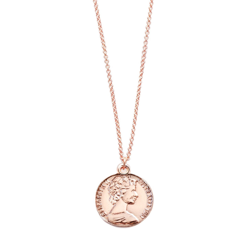 Coin Pendant Necklace - Rose Gold - Blush & Co. Rose Gold Jewellery Australia