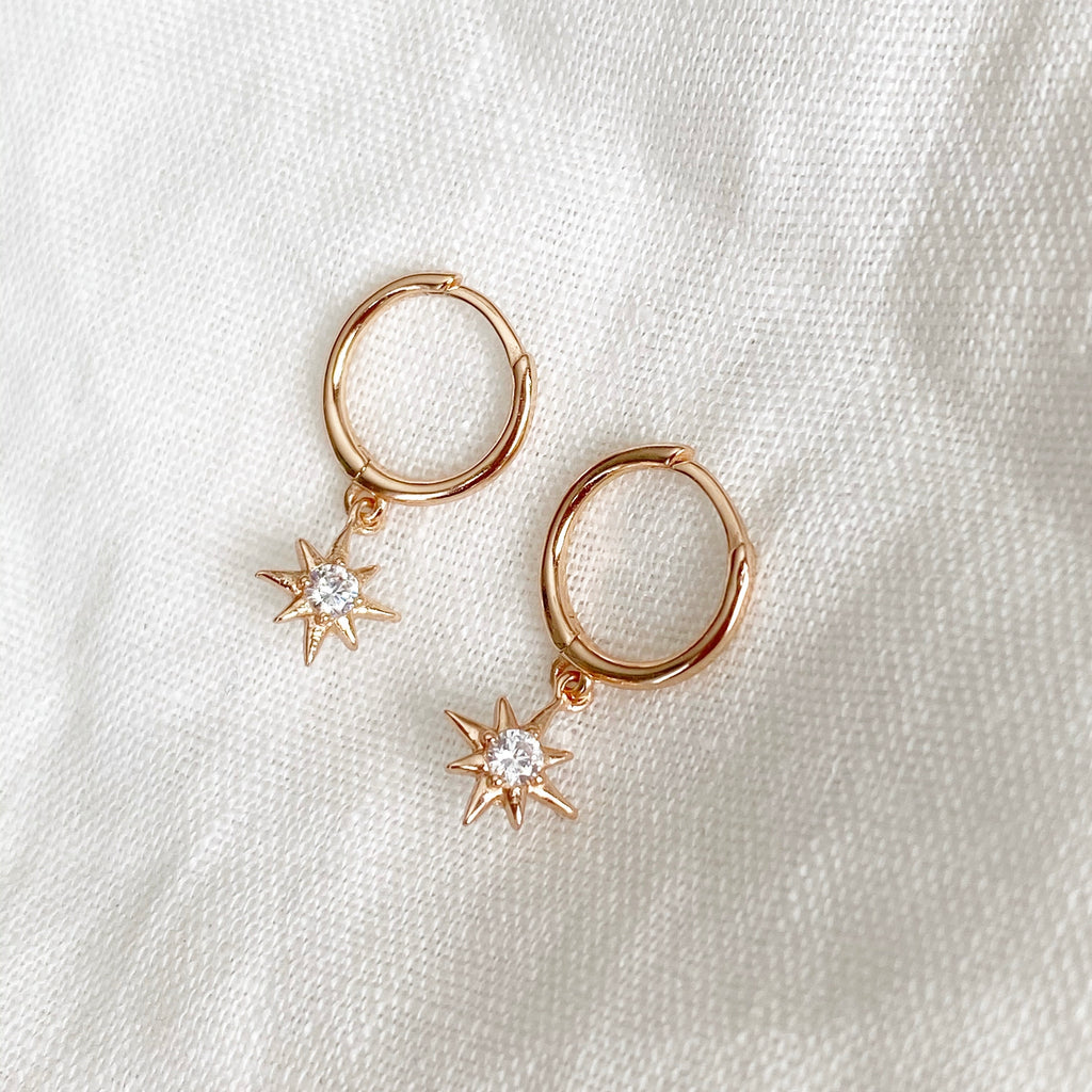 Compass Charm Huggie Earrings - Rose Gold - Blush & Co.