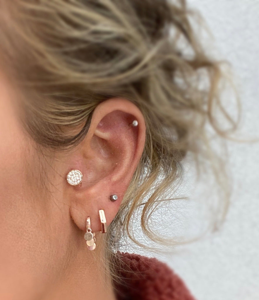 Tiny Disc Crystal Huggie Earring - Blush & Co.