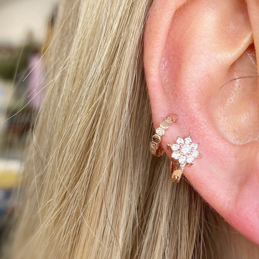 Tiny Daisy Crystal Huggie Earring - Rose Gold - Blush & Co.