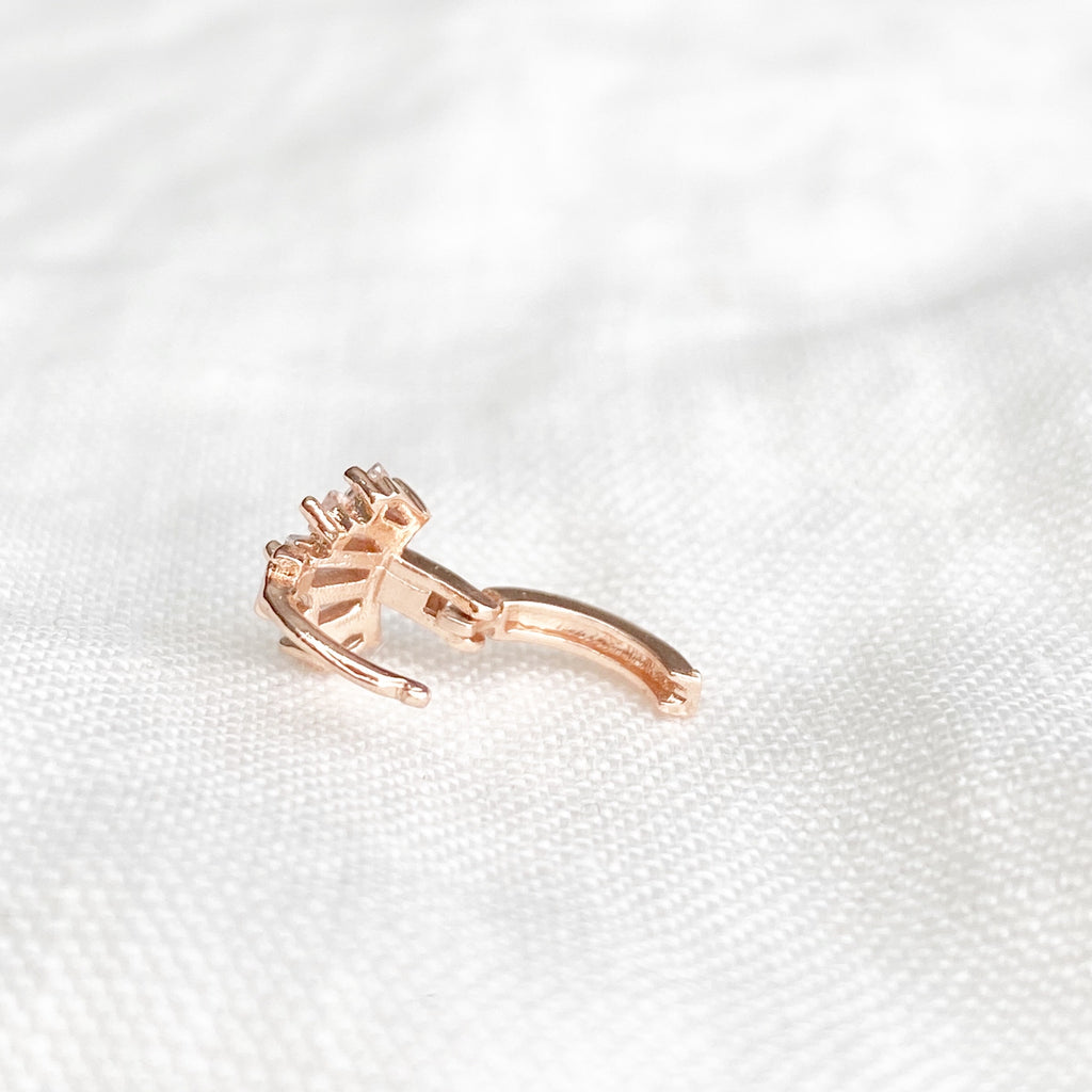 Tiny Zirconia Crown Huggie Earring - Blush & Co. Rose Gold Jewellery Australia