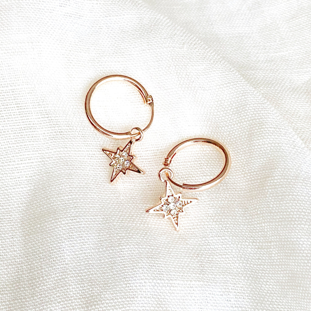 Celeste Charm Hoop Earrings - Blush & Co. Rose Gold Jewellery Australia