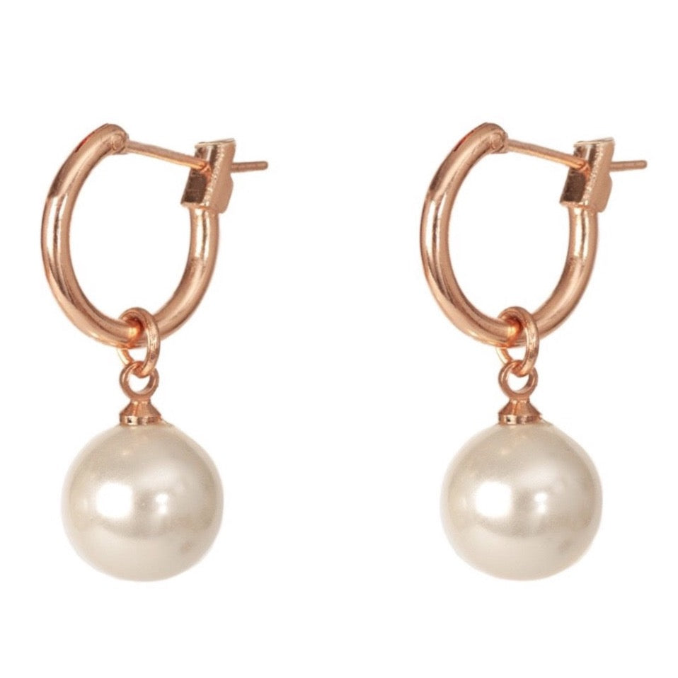 Elizabeth Pearl Drop Earrings  - Rose Gold - Blush & Co.