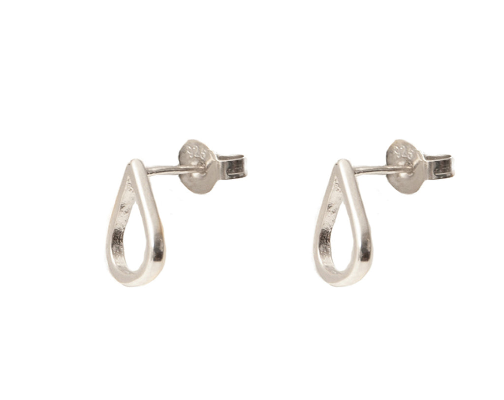 Teardrop Stud Earrings - Silver - Blush & Co.