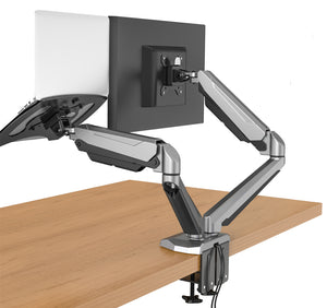 "Desktop Dual LCD Fully Adjustable Gas Spring Computer Monitor and Laptop Desk Mount Combo Stand, Fits 13""-27"" Screens and 12""-17"" Laptops, weight up to 8kgs, Black (RCLMSB-V)"