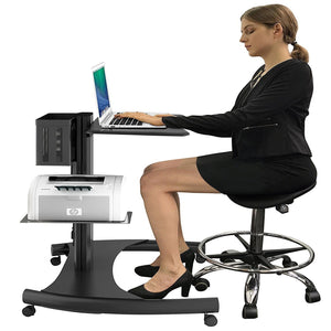 Heavy Duty Height Notebook Cart I Adjustable Laptop Stand on wheels with Integrated Power Outlets- Black