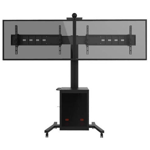 Dual Tv Floor Stand TMC02 (with Lockable Cabinet)