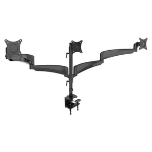 "Gas Spring Triple Monitor Desk Mount Arm/Stand, Fully Adjustable Arms, Fits up to 27"" Screens, Black (3MSG-V)"