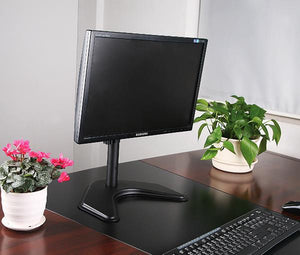 "Single LCD Computer Monitor Free-Standing Desk Stand Adjustable Tilt | Holds 1 Screen up to 27"" EF001"