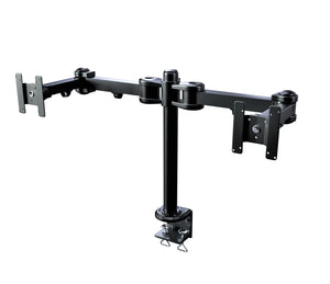Heavy-Duty Dual Monitor Stand, Clamp on Base, Fully Adjustable Wide Arms, for 2 Screens up to 32 inches with 75 * 75mm and 100 * 100mm VESA, Black (2HDC)
