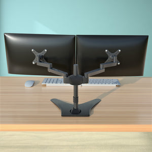 "Dual Free-standing Arm Monitor Desktop Mount Stand Adjustable Screens Fit for 10""-23"" LCD and LED Displays, Black (2MSFP-T)"