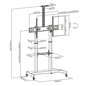 Steel Height Adjustable TV Carts / Trolley for Big Tv (model RKB)