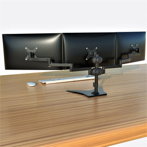 "Triple Monitor Stand, Full Motion Articulating Aluminum Monitor Mount, Fit Three 24"" Flat/Curved LCD LED Computer Screens Freestanding, Black (3MSFHW-T)"