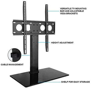Universal Tabletop TV Stand Base, Fits 32, 37, 40, 47, 50, 55 Inch TVs, Height Adjustable, Black (RD303)